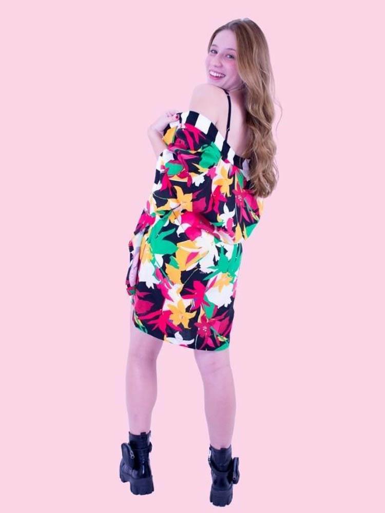 Kimono Kaeko Gráfico Floral  - Carmelina.com.br