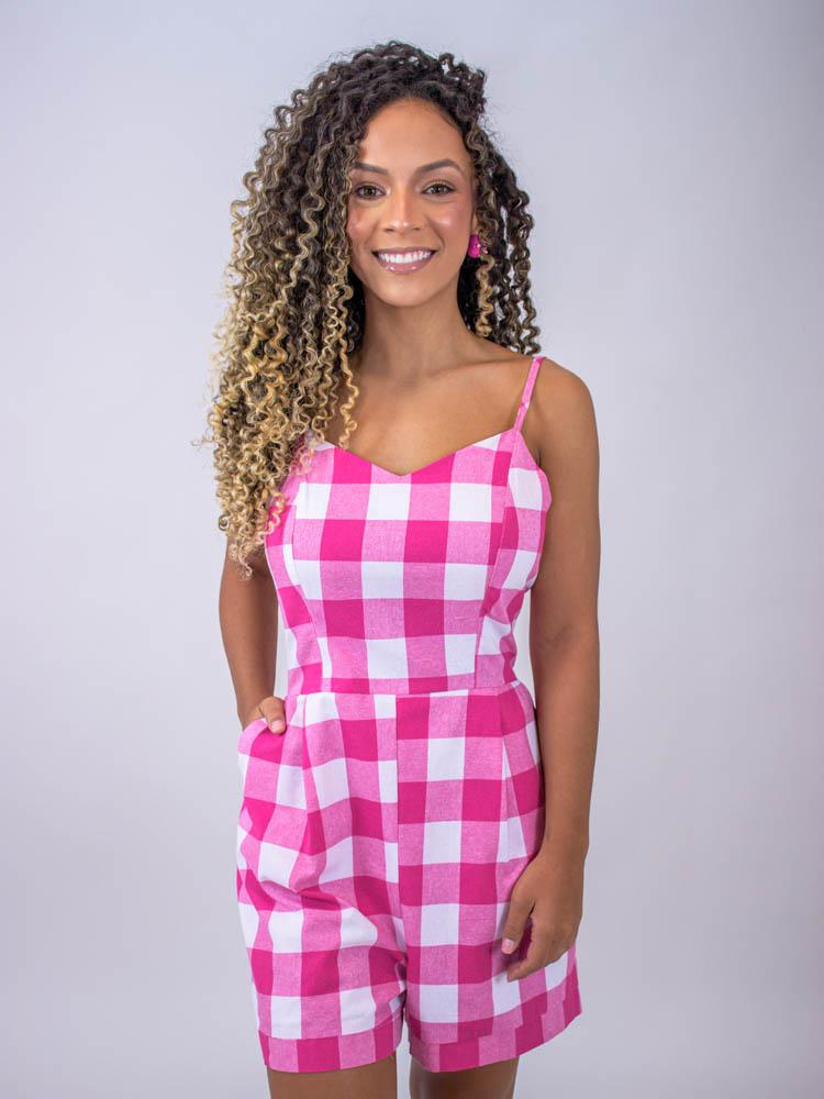 Macaquinho Alça Vichy Linho Pink  - Carmelina.com.br