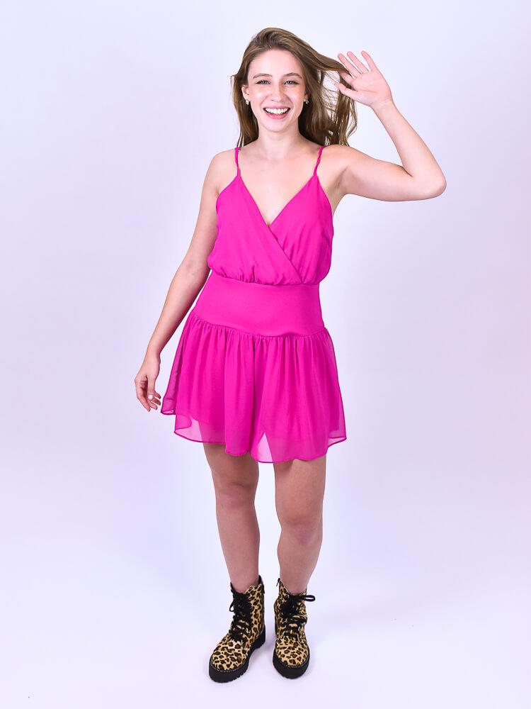 Macaquinho Babado Pink  - Carmelina.com.br