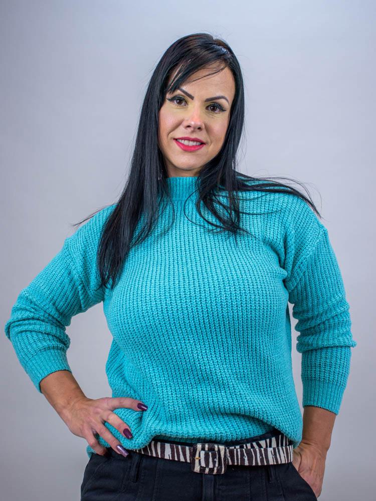Maxi Tricot Color Turquesa  - Carmelina.com.br