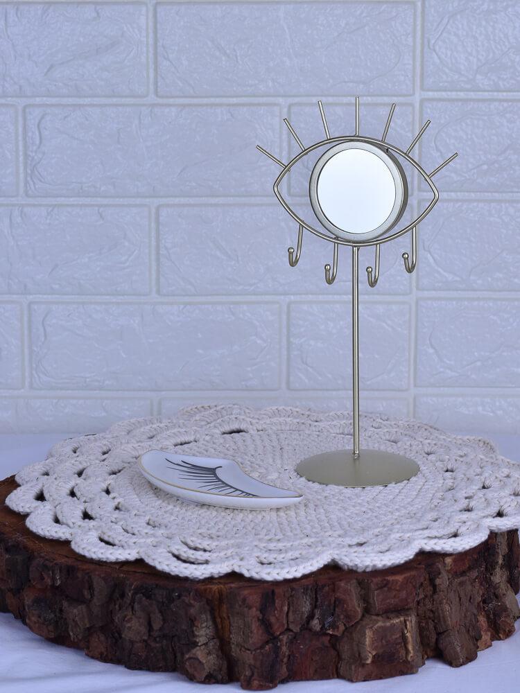 Mini Espelho Mesa Olho Dourado  - Carmelina.com.br