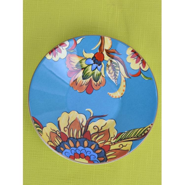 Prato Fundo Floral Azul
