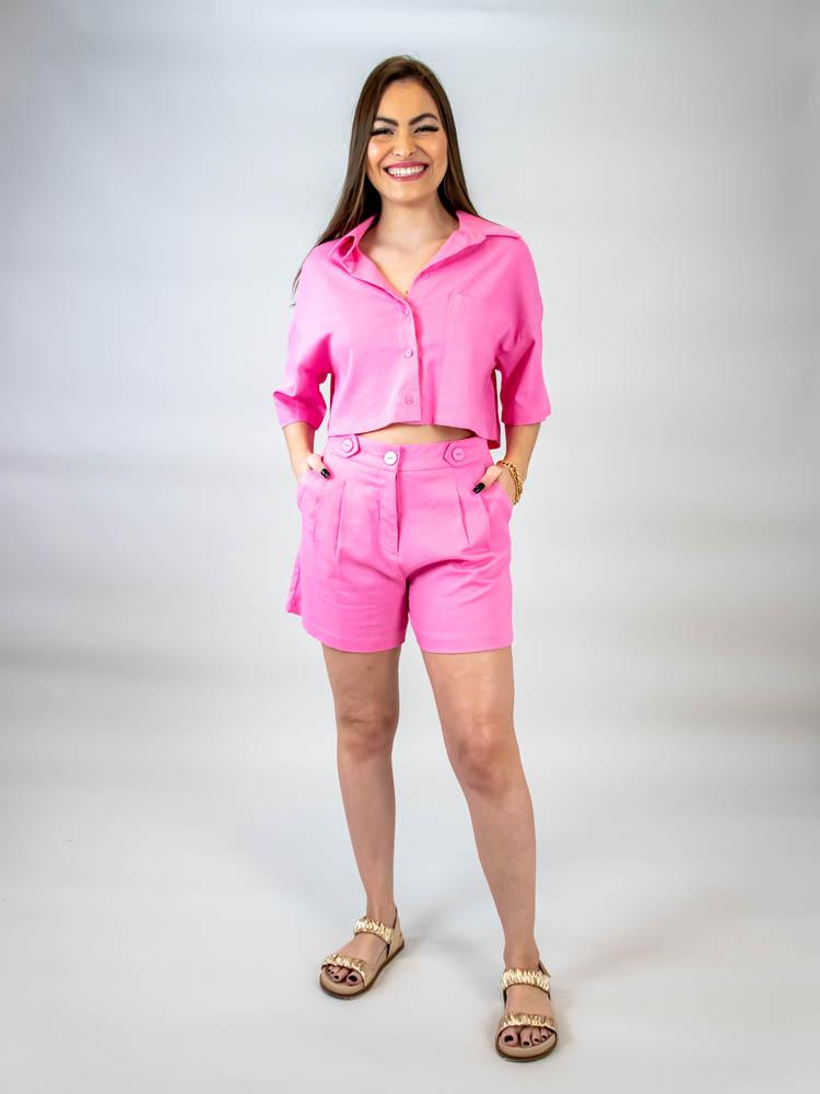 Short Linho Martingale Rosa  - Carmelina.com.br