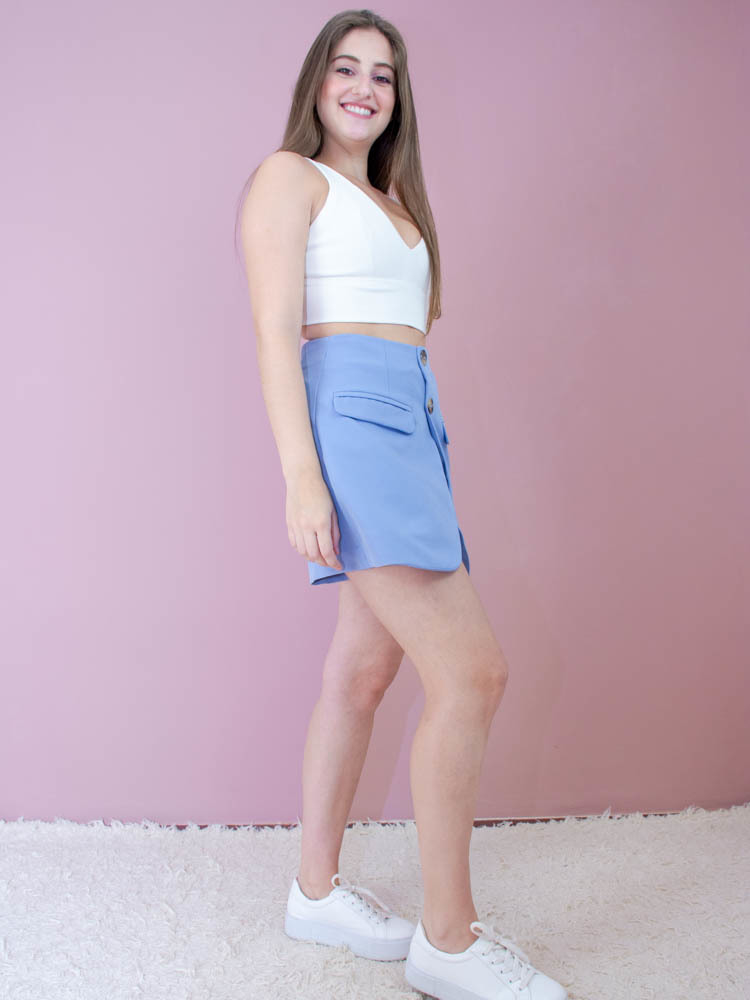 Short Saia Alfaiataria Azul