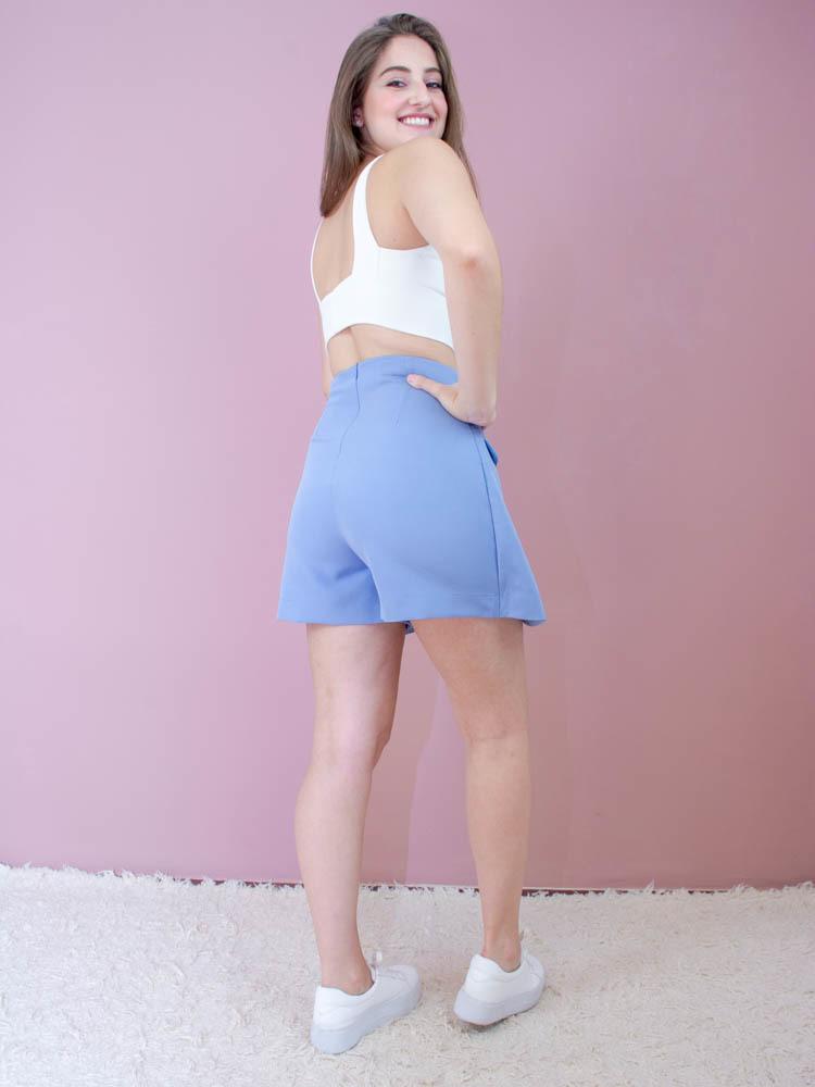 Short Saia Alfaiataria Azul  - Carmelina.com.br