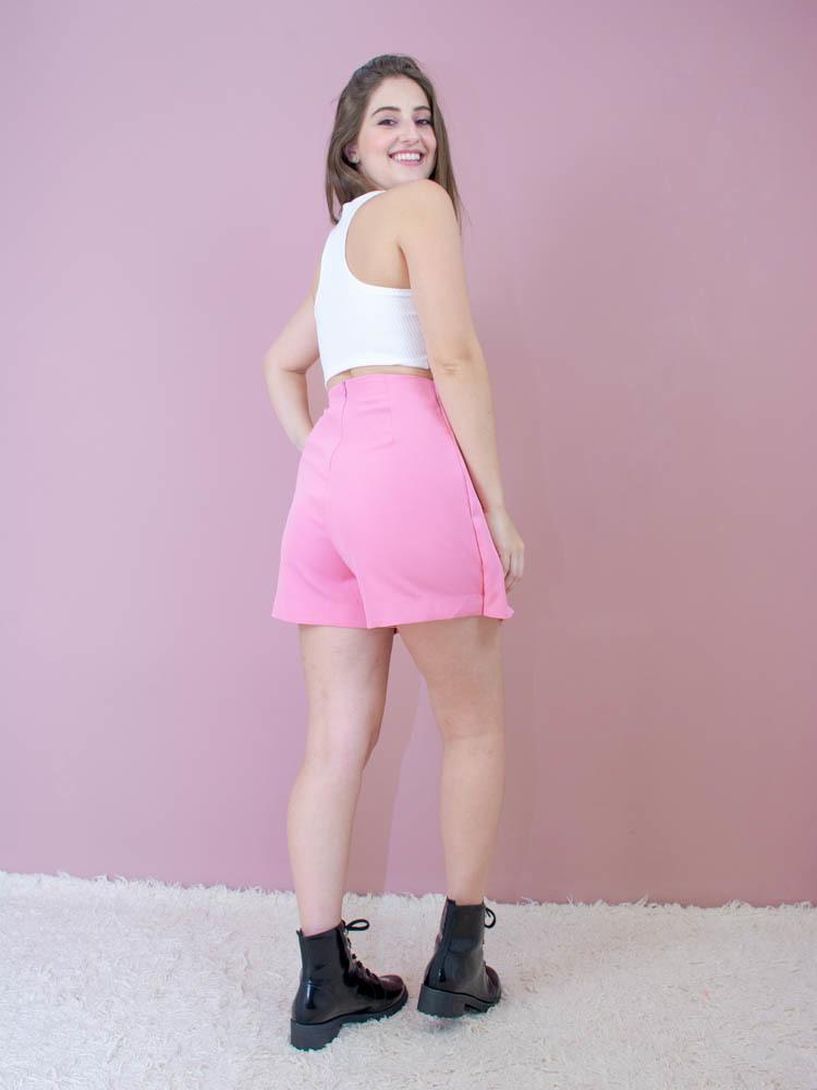 Short Saia Alfaiataria Rosa  - Carmelina.com.br