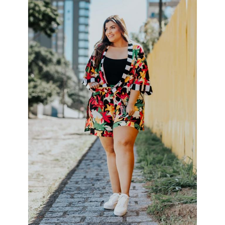 Short Sky Gráfico Floral  - Carmelina.com.br