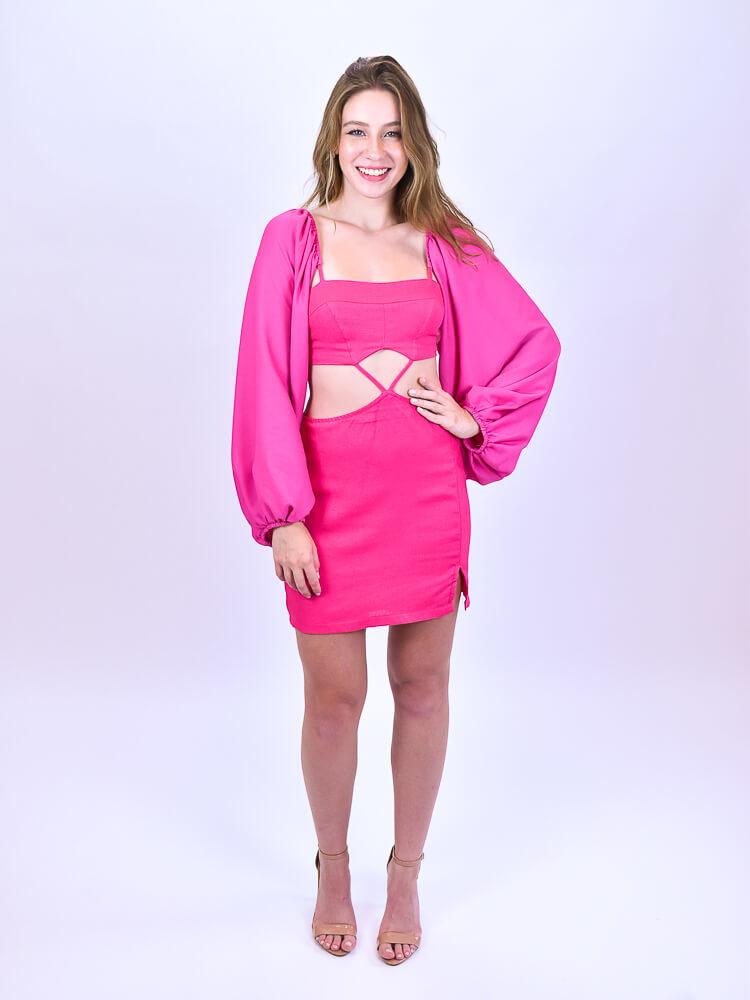 Top Com Saia Curta Pink