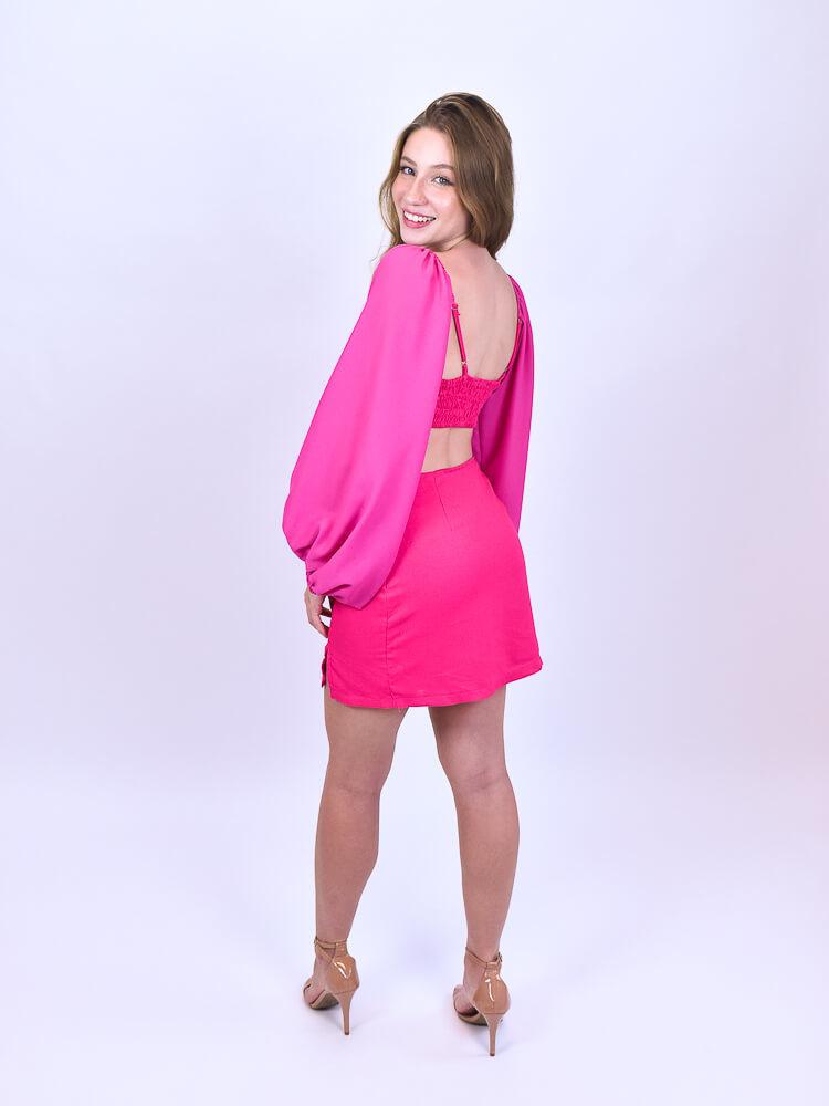 Top Com Saia Curta Pink  - Carmelina.com.br