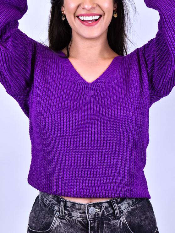 Tricot Fang Roxo   - Carmelina.com.br
