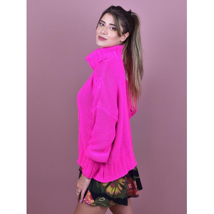 Tricot Gola Pink  - Carmelina.com.br