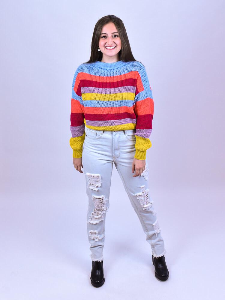 Tricot Listra Color  - Carmelina.com.br