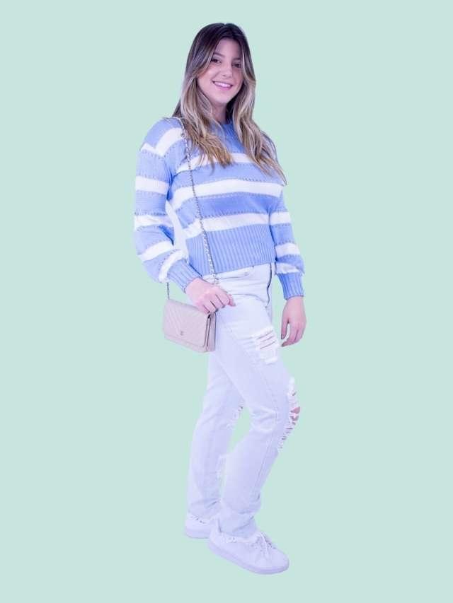Tricot Listrado Azul  - Carmelina.com.br