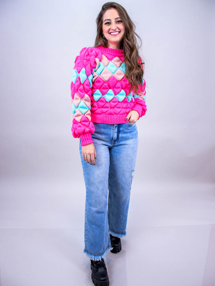 Tricot Losango Rosa  - Carmelina.com.br