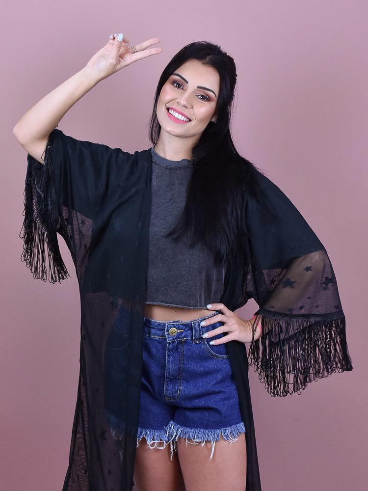 Tshirt Cropped Estonada Chumbo  - Carmelina.com.br