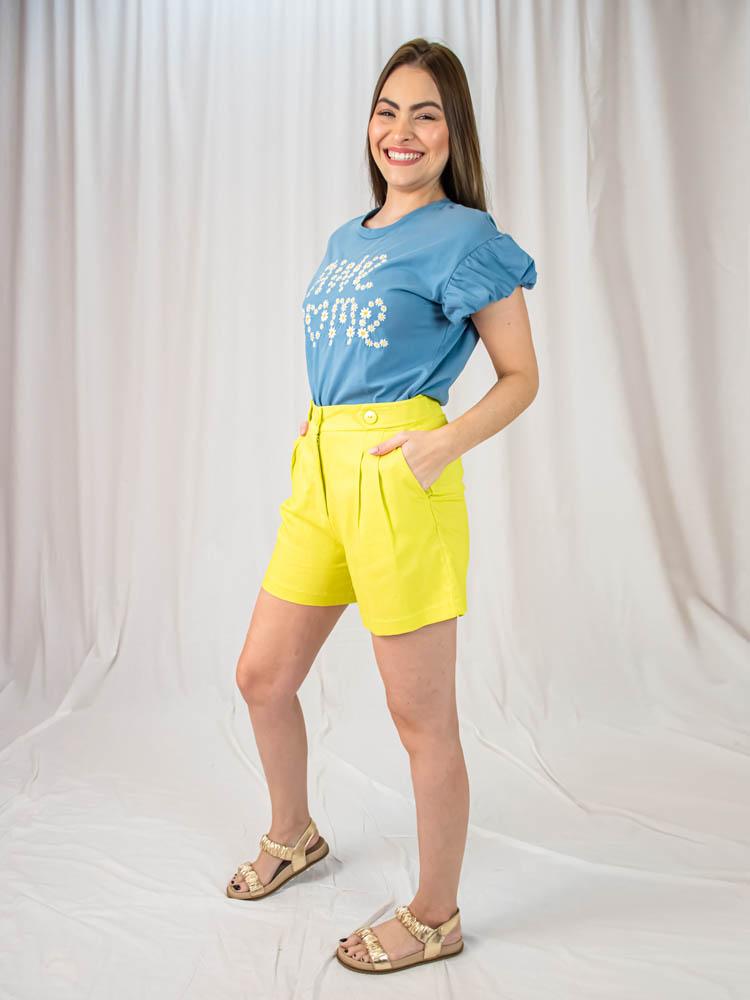 Tshirt Margarida Awesome Azul  - Carmelina.com.br