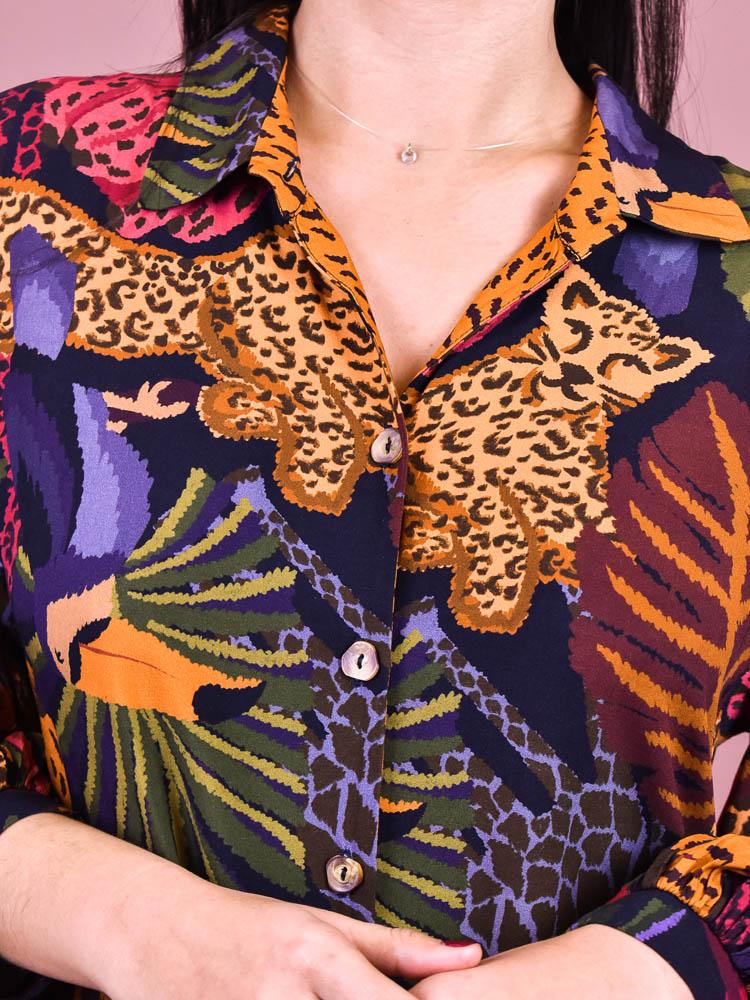 Vestido Camisa Farm Dança na Floresta   - Carmelina.com.br