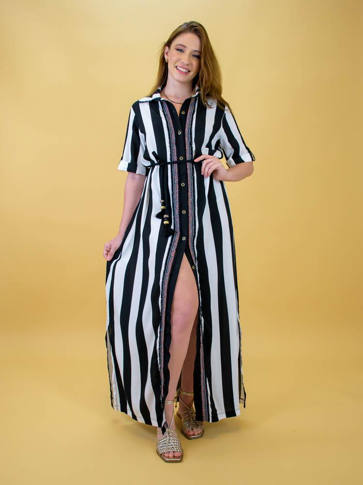 Vestido Chemise Longo Listras - Wicca