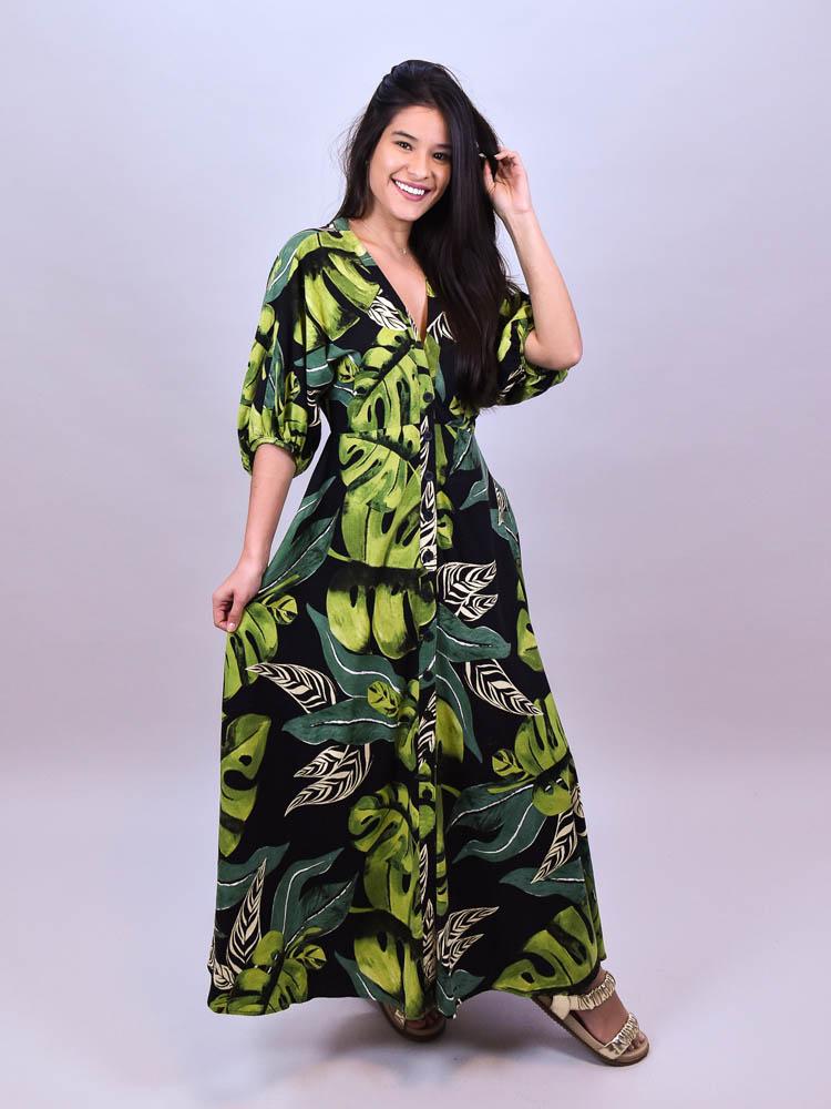 Vestido Cropped Farm Folhagem Fresca  - Carmelina.com.br