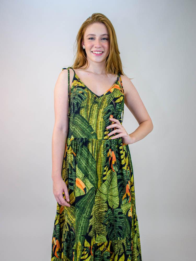 Vestido Cropped Farm Folhagem Paraíso  - Carmelina.com.br