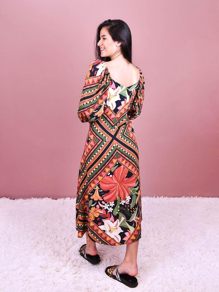 Vestido Cropped Farm Lenço Flor
