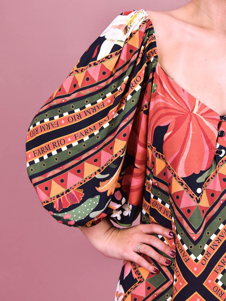 Vestido Cropped Farm Lenço Flor  - Carmelina.com.br