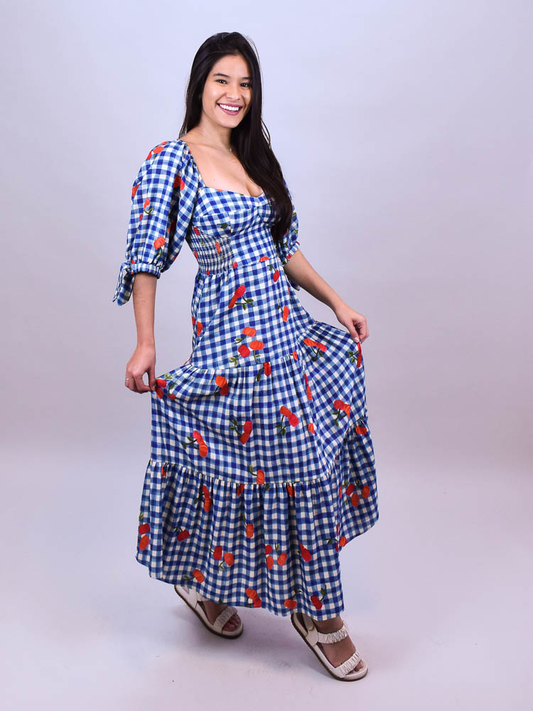 Vestido Cropped Farm Pitanga Vichy