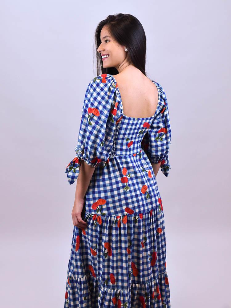 Vestido Cropped Farm Pitanga Vichy  - Carmelina.com.br
