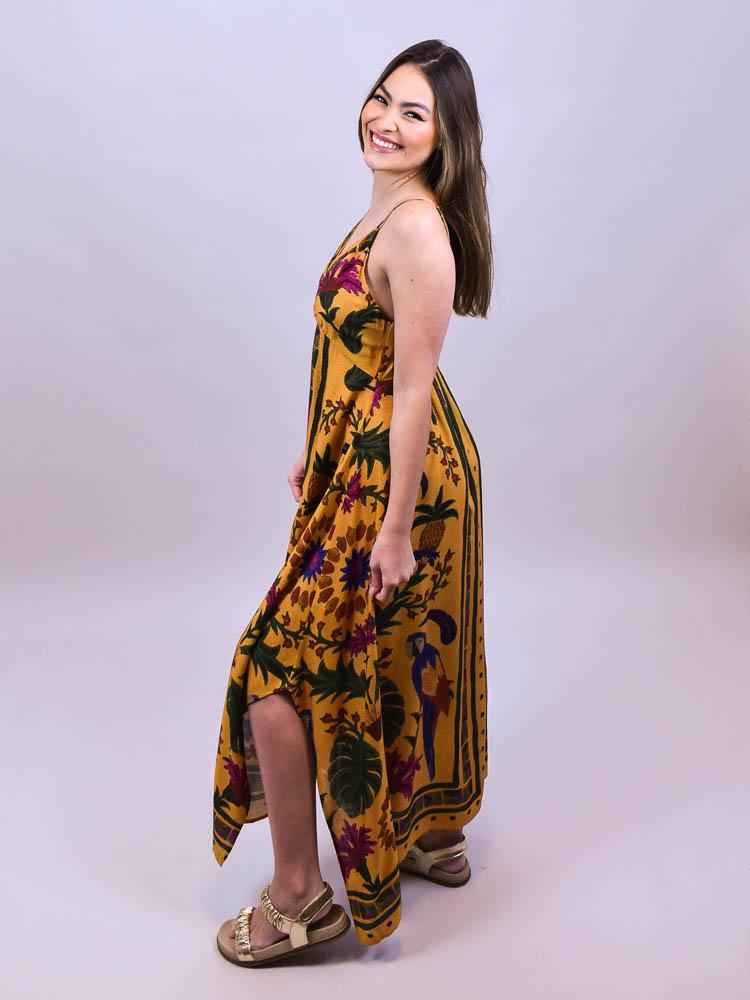Vestido Cropped Farm Tapeçaria Tropical Lenço