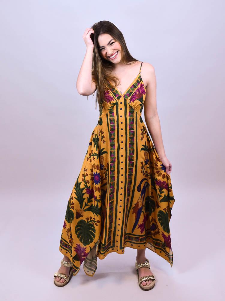 Vestido Cropped Farm Tapeçaria Tropical Lenço  - Carmelina.com.br