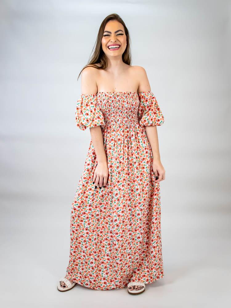 Vestido Cropped Lastex Liberty  - Carmelina.com.br
