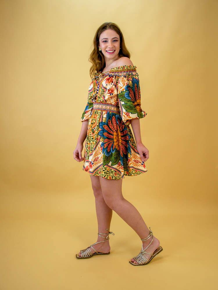 Vestido Curto Farm Flor de Abacaxi