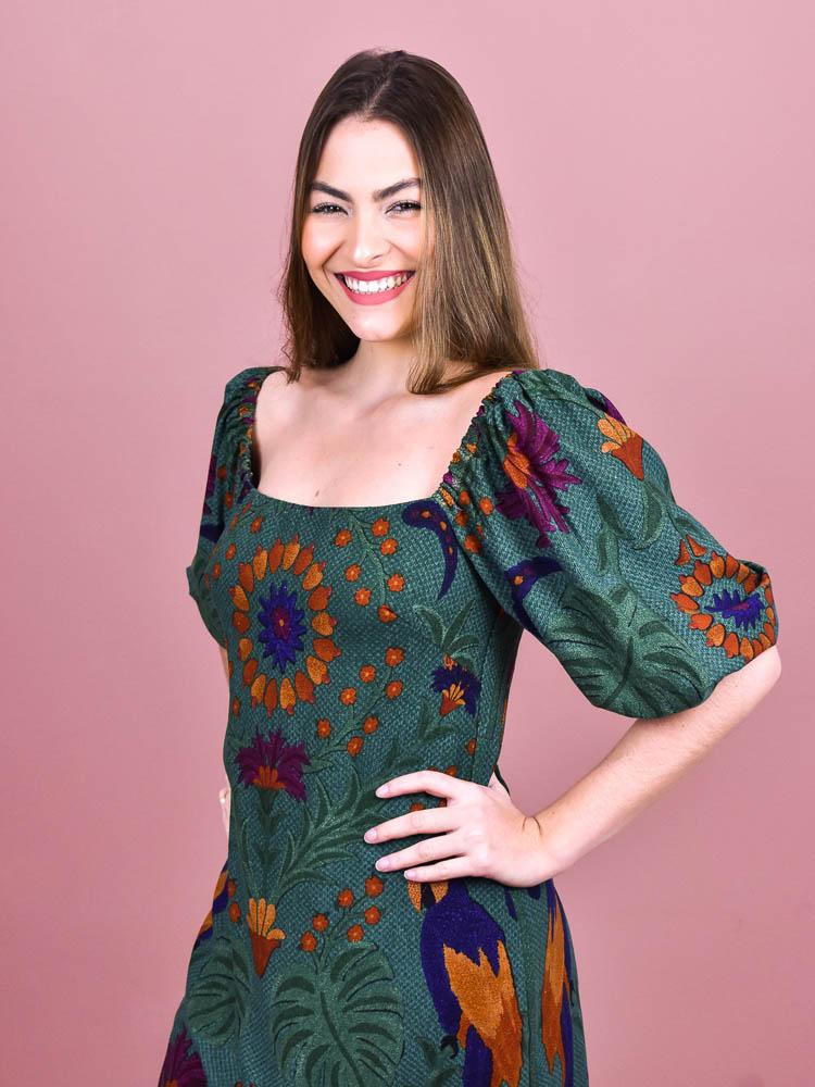Vestido Curto Farm Tapecaria Tropical   - Carmelina.com.br