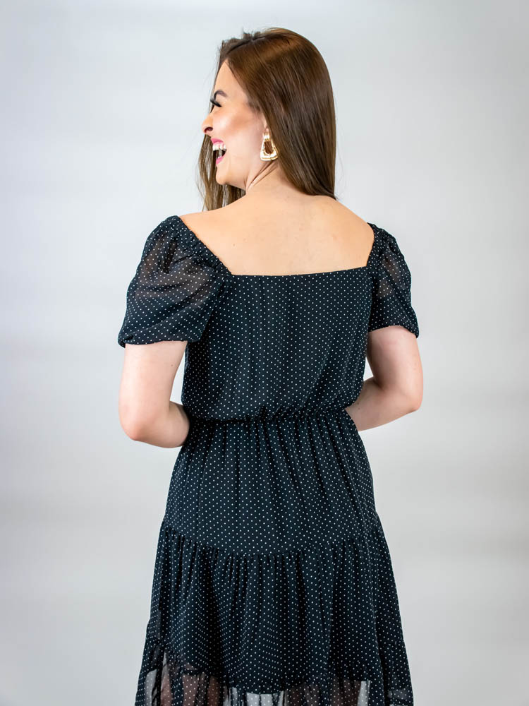 Vestido Curto Poá Tule Preto  - Carmelina.com.br