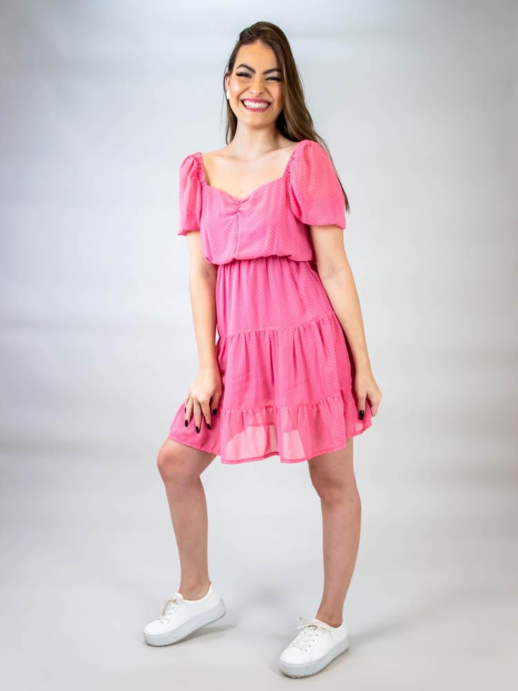 Vestido Curto Poá Tule Rosa  - Carmelina.com.br