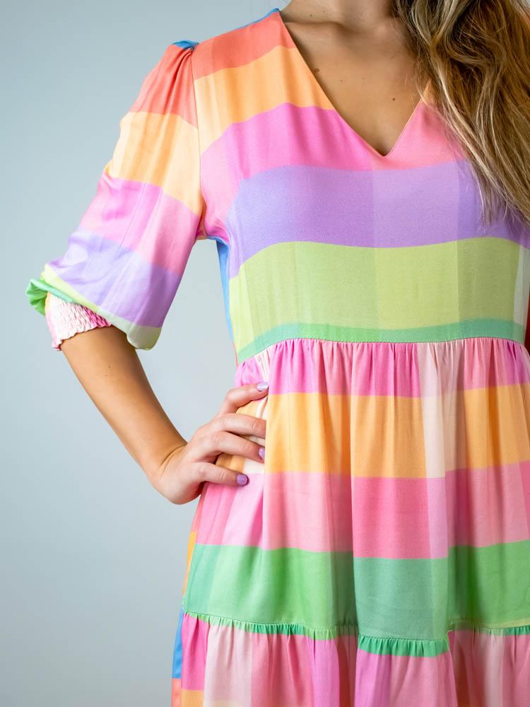 Vestido Curto Xadrez Color  - Carmelina.com.br