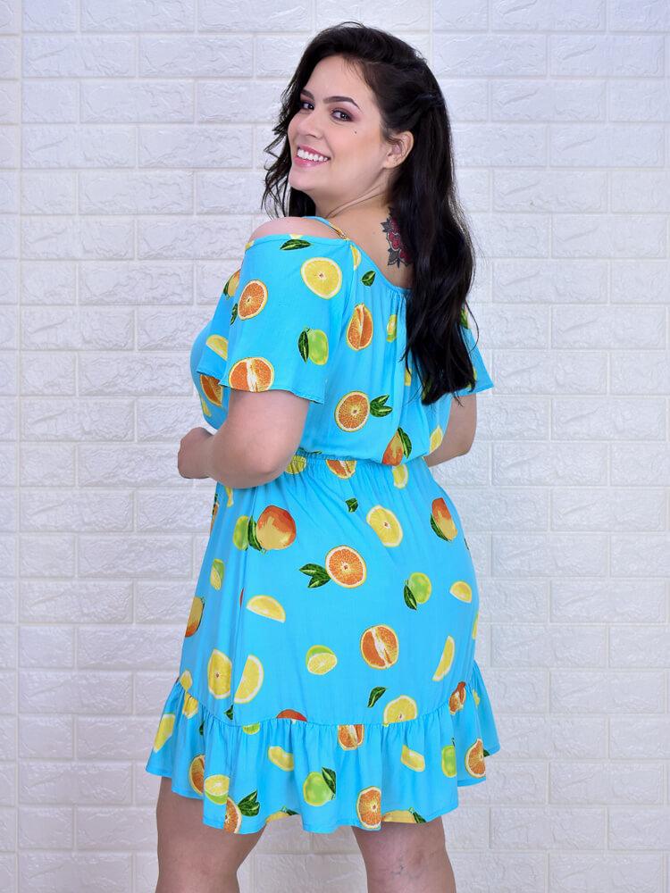 Vestido Duda Limões Azul  - Carmelina.com.br