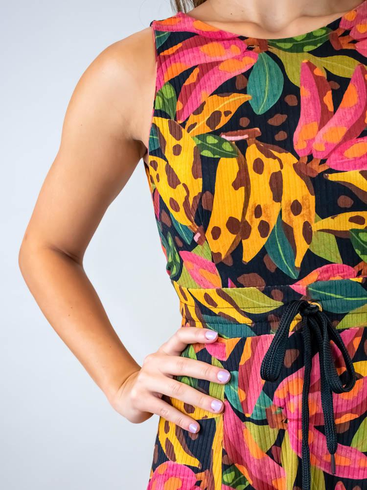 Vestido Godê Farm Banana Pintada  - Carmelina.com.br