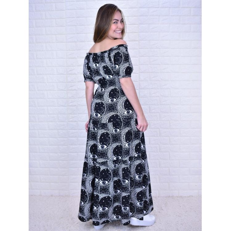 Vestido Joana Místico Preto  - Carmelina.com.br