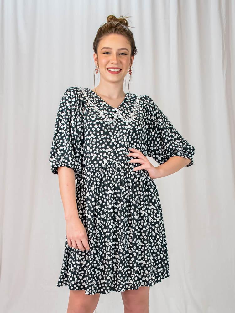 Vestido Liberty Gola Preto