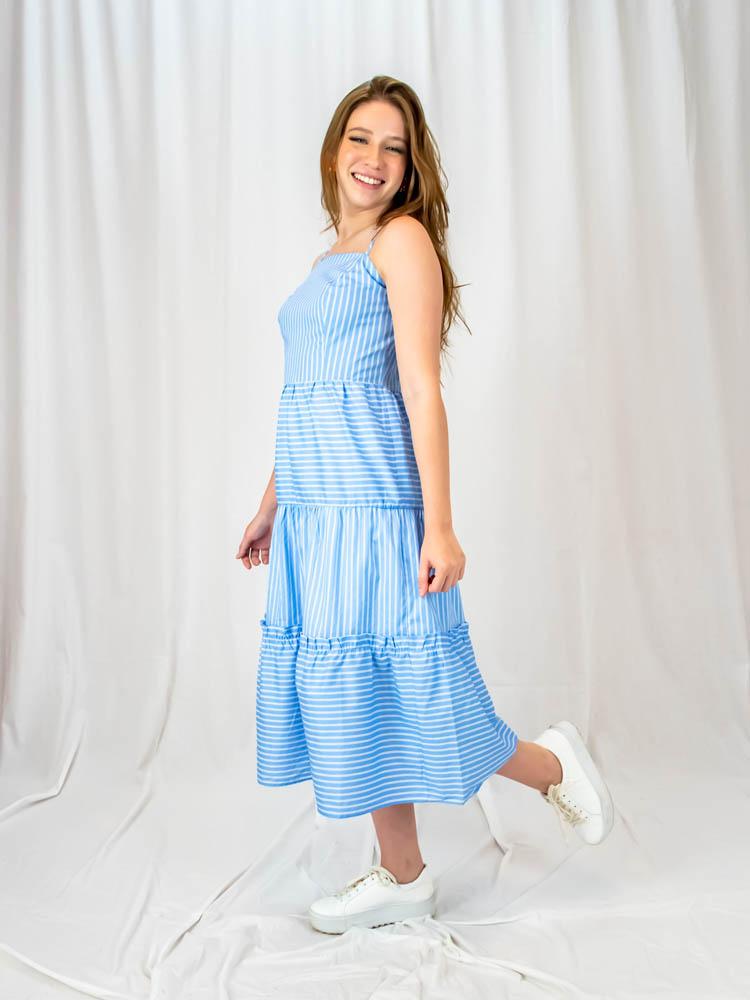 Vestido Maria Alça Listra Azul