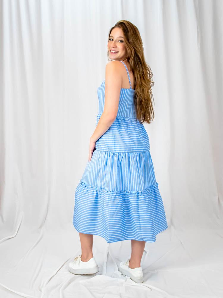 Vestido Maria Alça Listra Azul  - Carmelina.com.br
