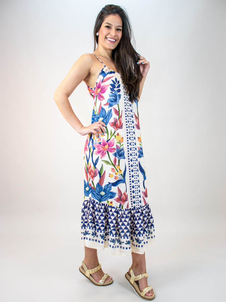 Vestido Midi Farm Floral Padang Lenço