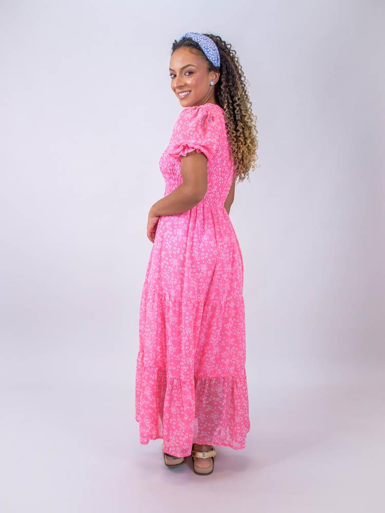 Vestido Midi Lastex Liberty Rosa
