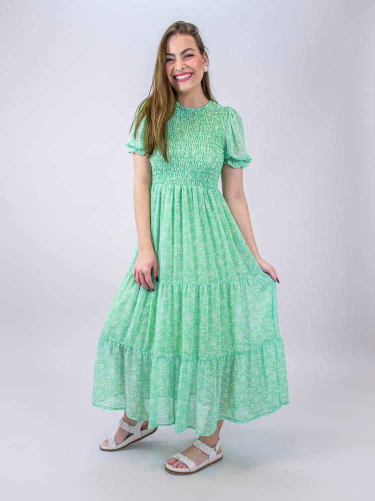 Vestido Midi Lastex Liberty Verde