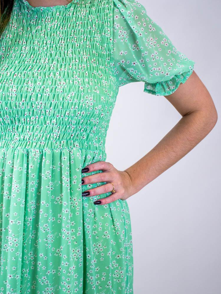 Vestido Midi Lastex Liberty Verde  - Carmelina.com.br