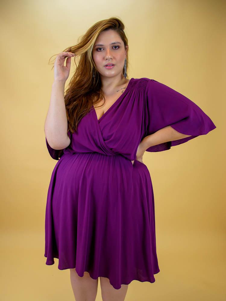 Vestido Roxo Transpassado - Virgínia