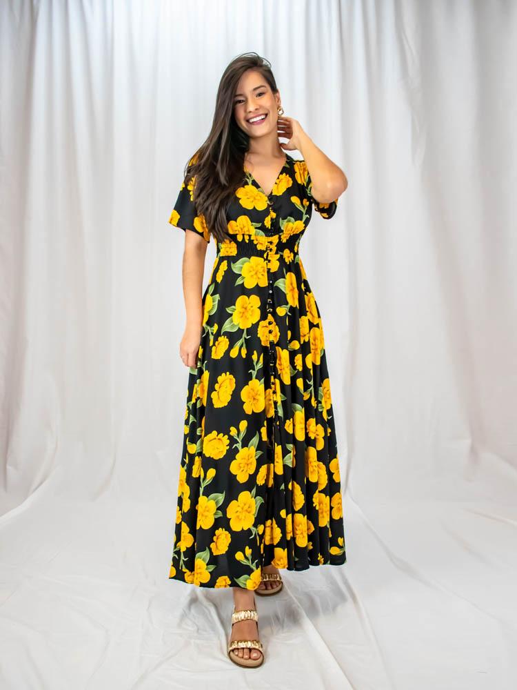 Vestido Tereza Floral Amarelo