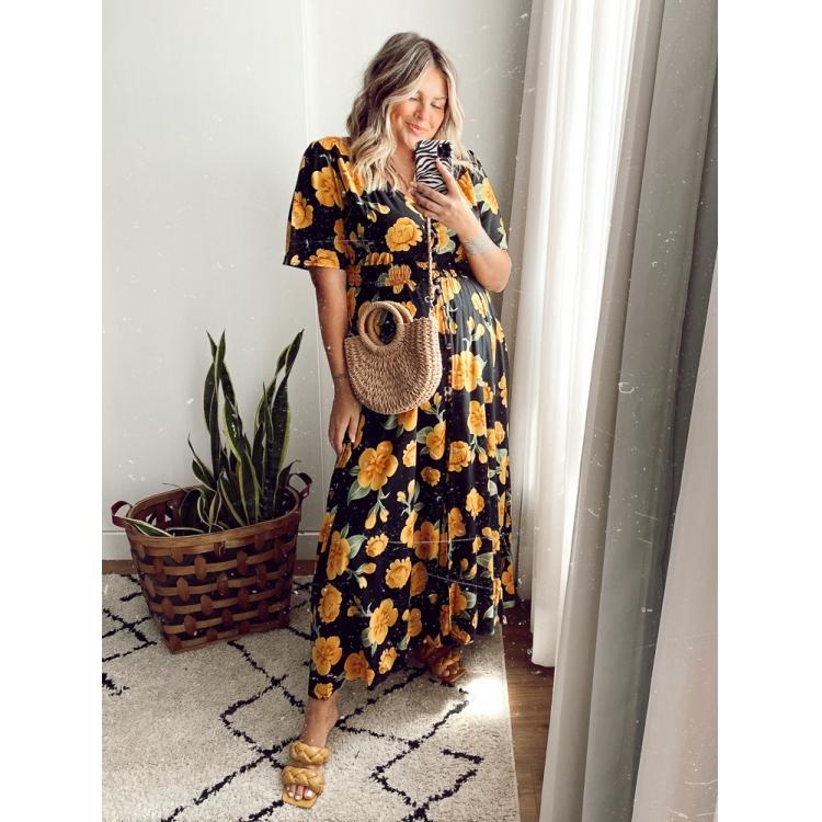Vestido Tereza Floral Amarelo  - Carmelina.com.br