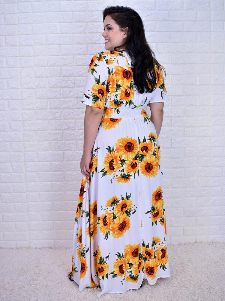 Vestido Tereza Girassóis  - Carmelina.com.br